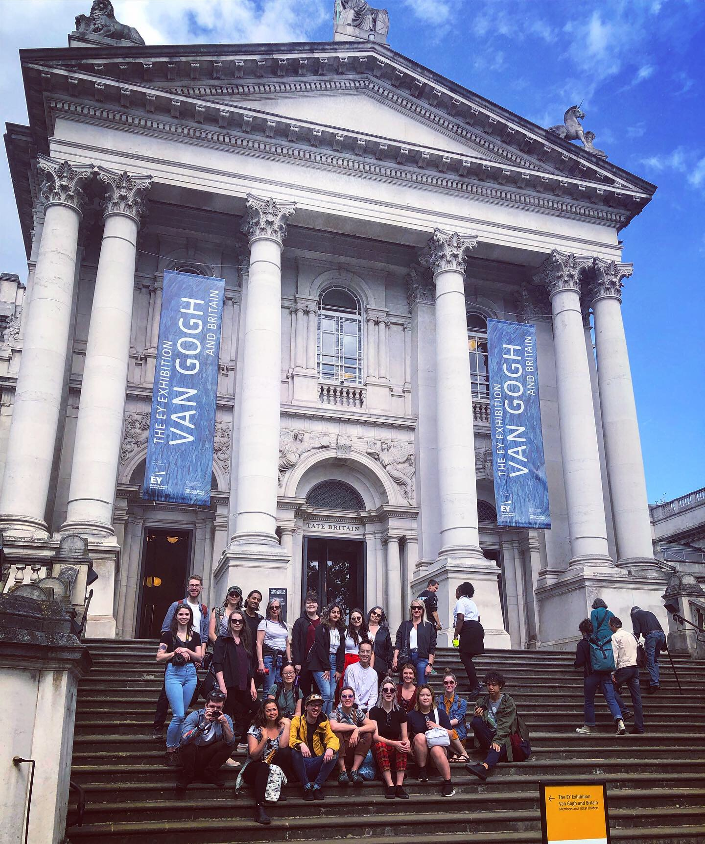 Group photo taken on the steps of the Tate Britain on our first full day of the field school.