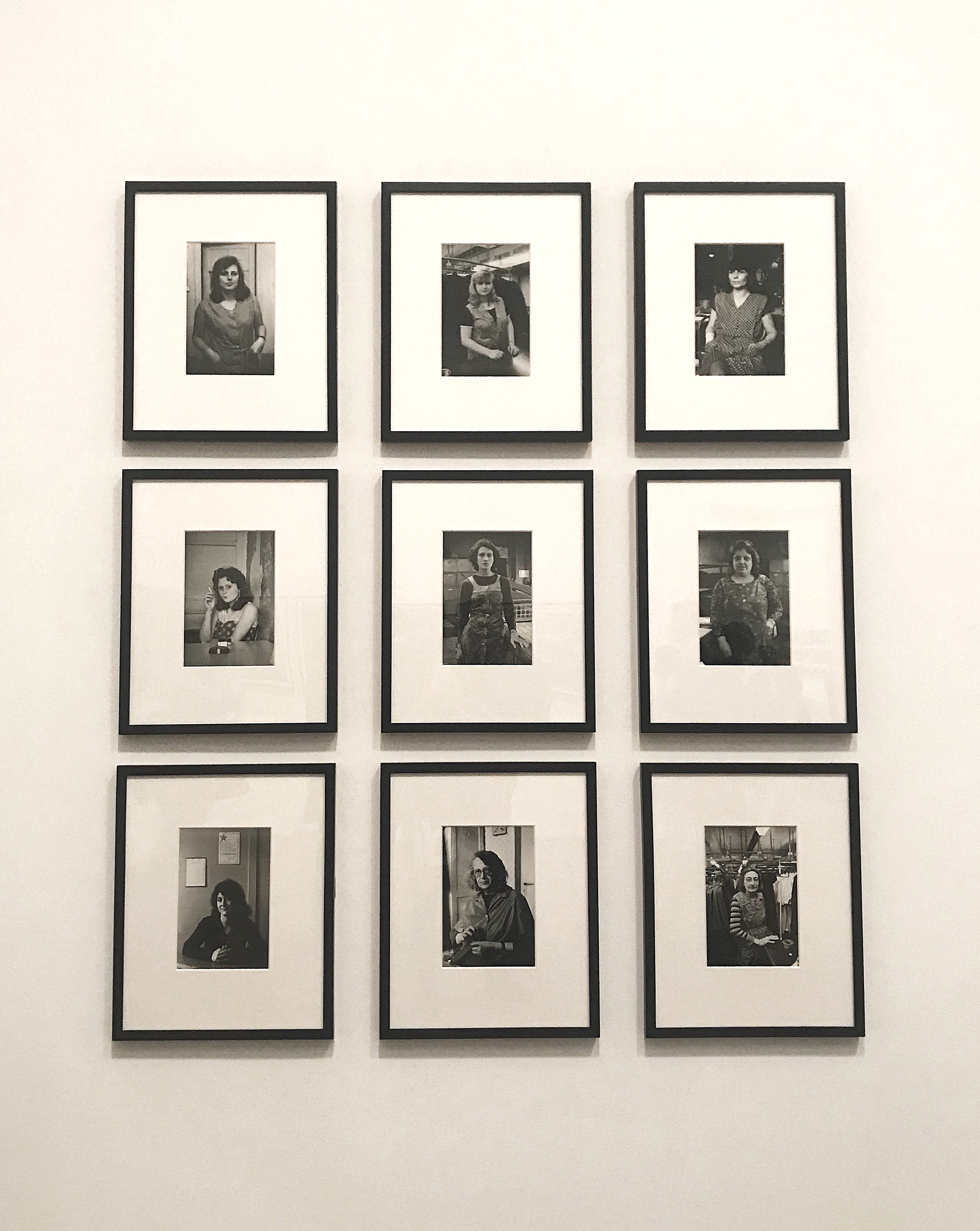 Melanie's photograph of the Helga Paris series at the Tate Modern. She was assigned the specific image of the woman smoking a cigarette— the first photograph to the far left in the second row.