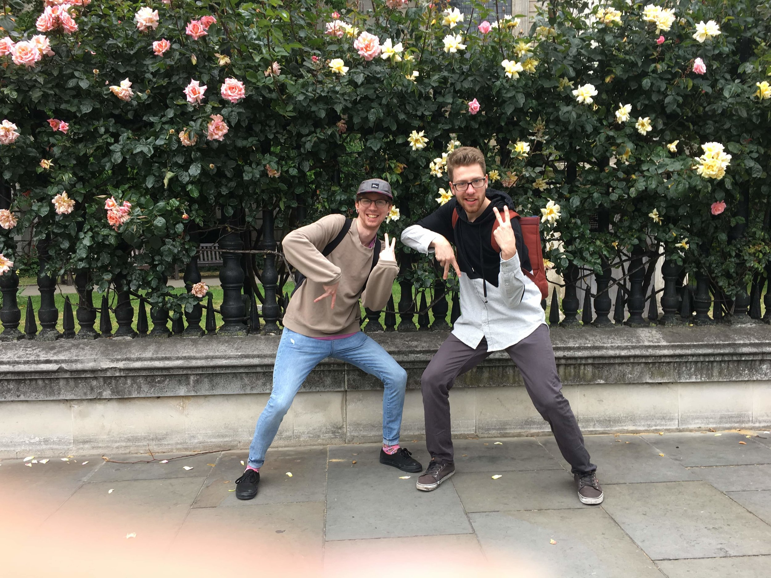 Mark (left) posing with Reggie (by St. Paul's beautiful rose bushes) on the way to the Tate Modern.