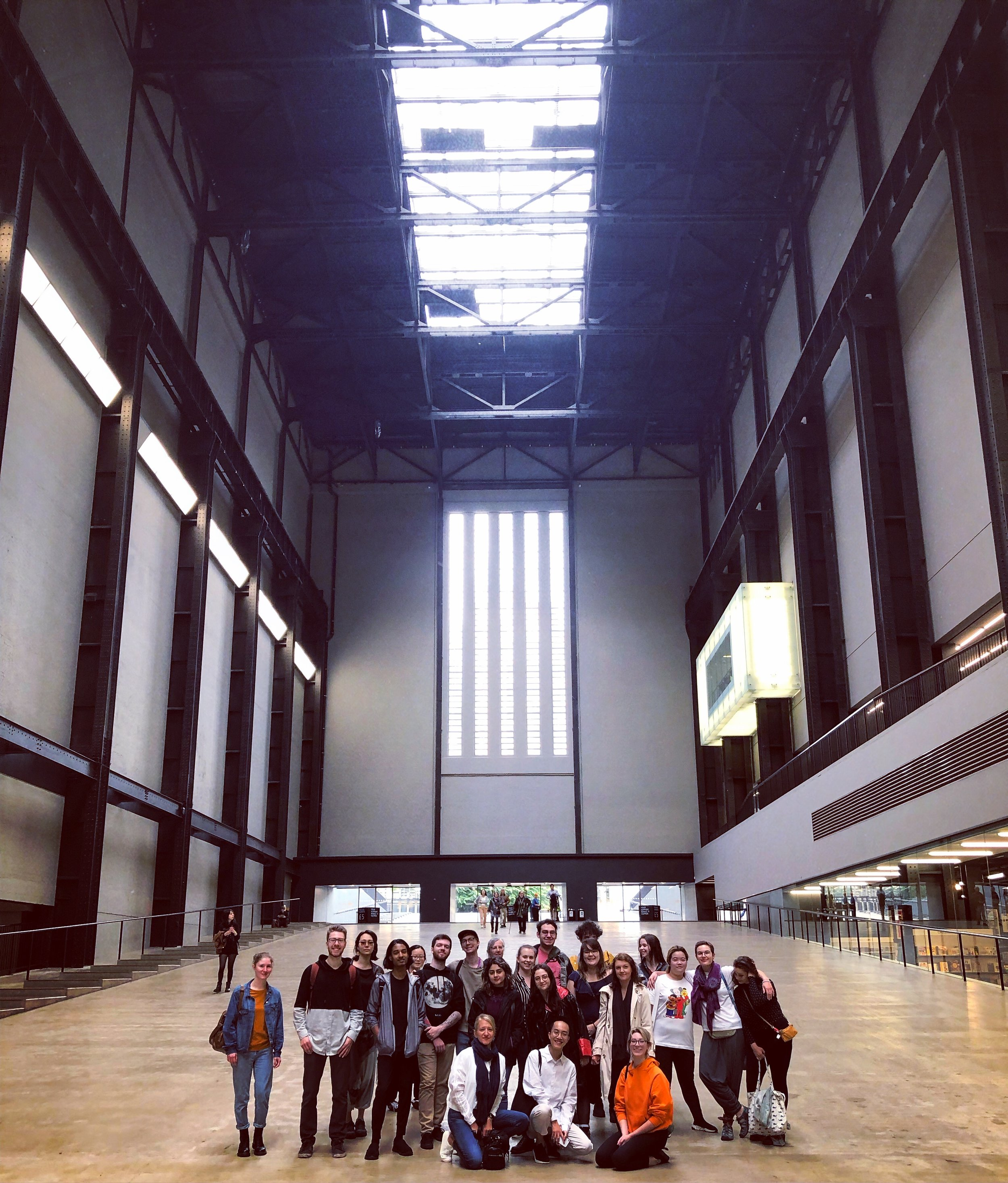 Group photo taken in the big Turbine Hall at the Tate Modern.