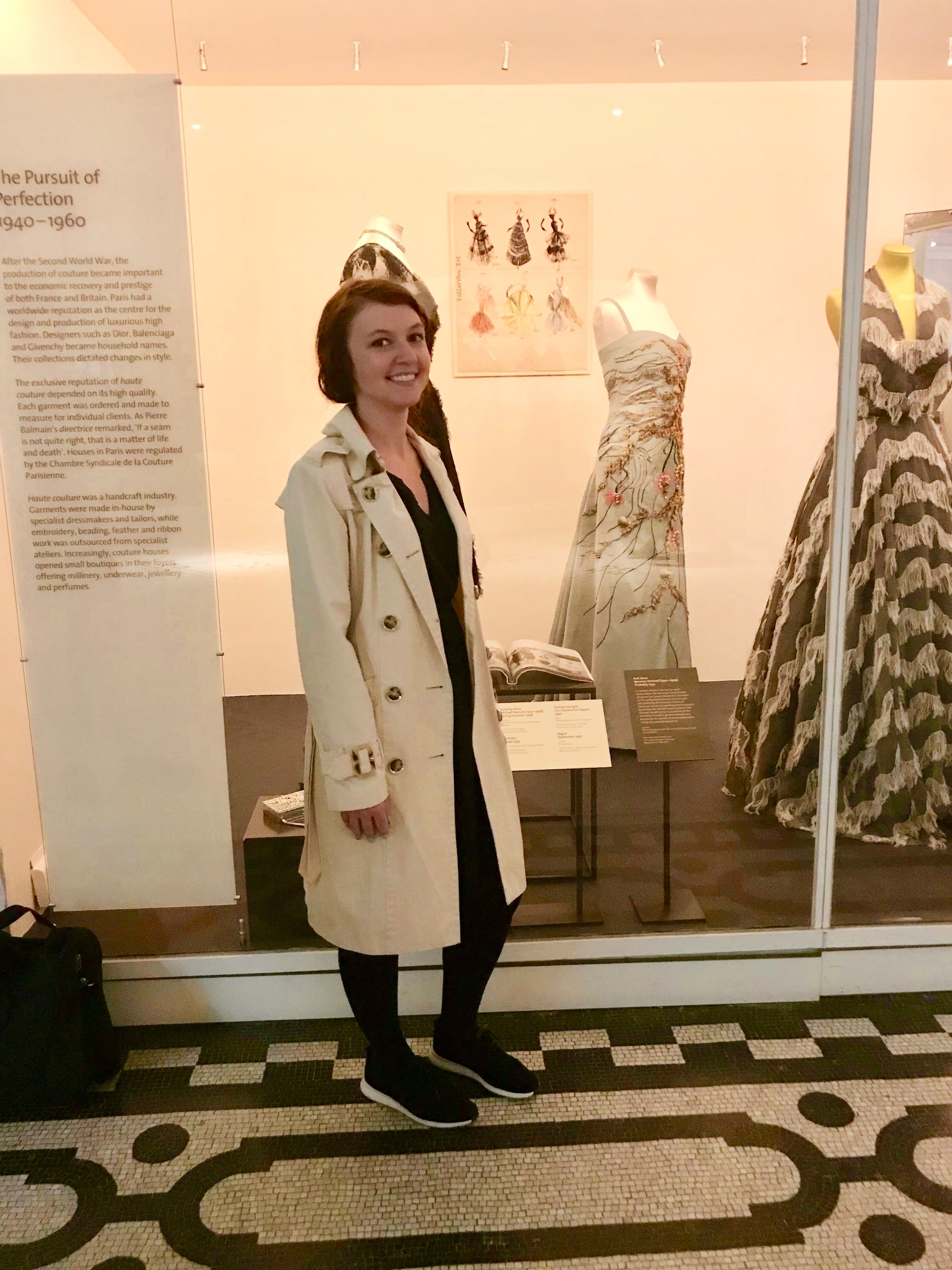 Meet field school blogger Alycia, posing here in front of a fashion display at the Victoria and Albert Museum