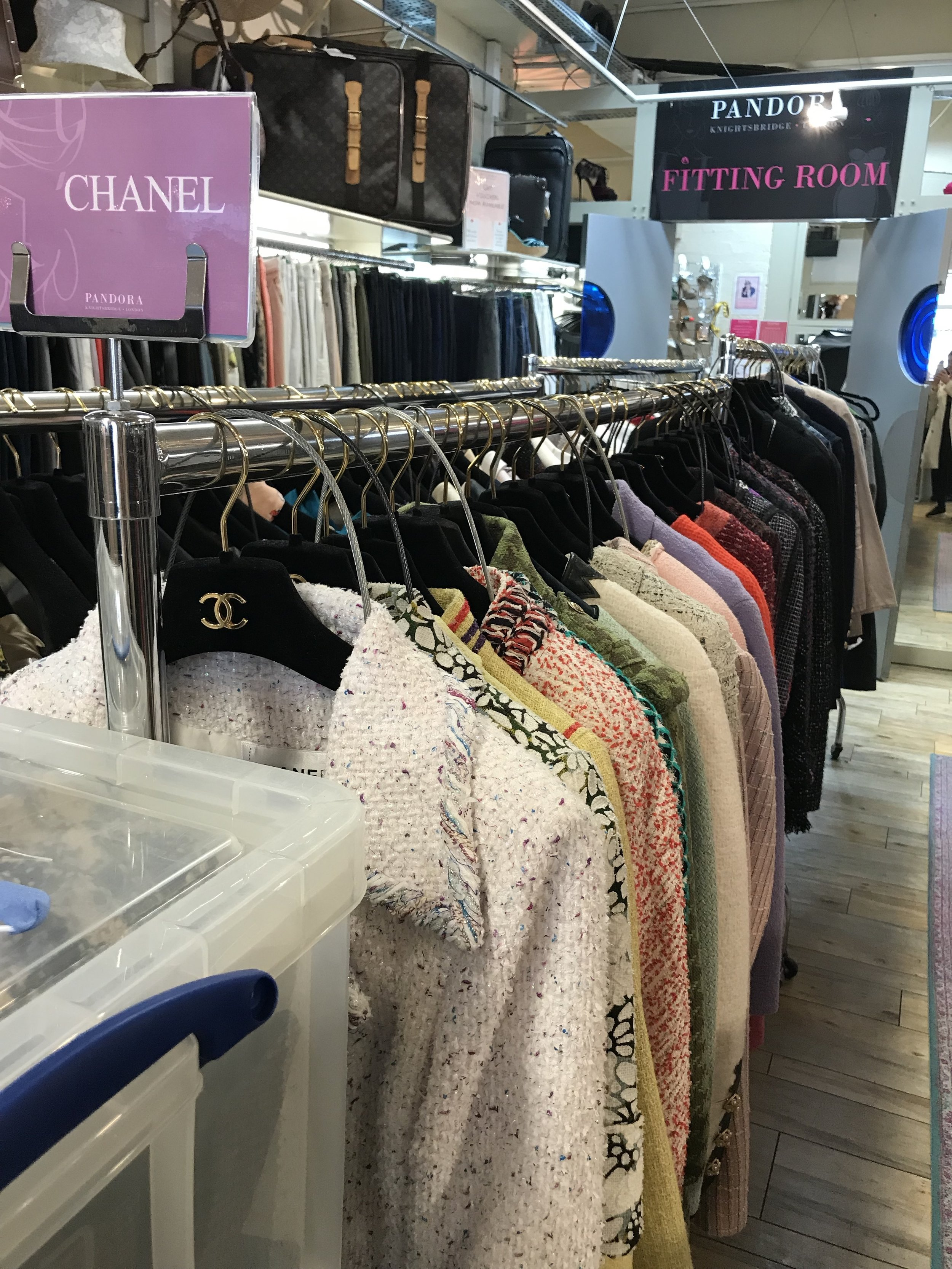 Chanel suits spotted by Alycia in Knightsbridge consignment stores.