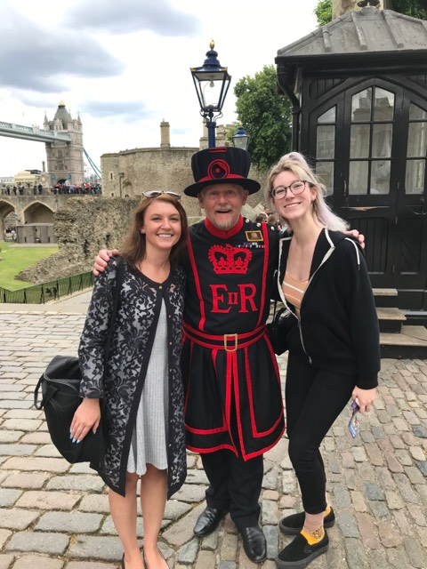 Alycia, a fashion design student at KPU's Wilson School of Design (left) posing with Ciska and an English Beefeater at the Tower of London