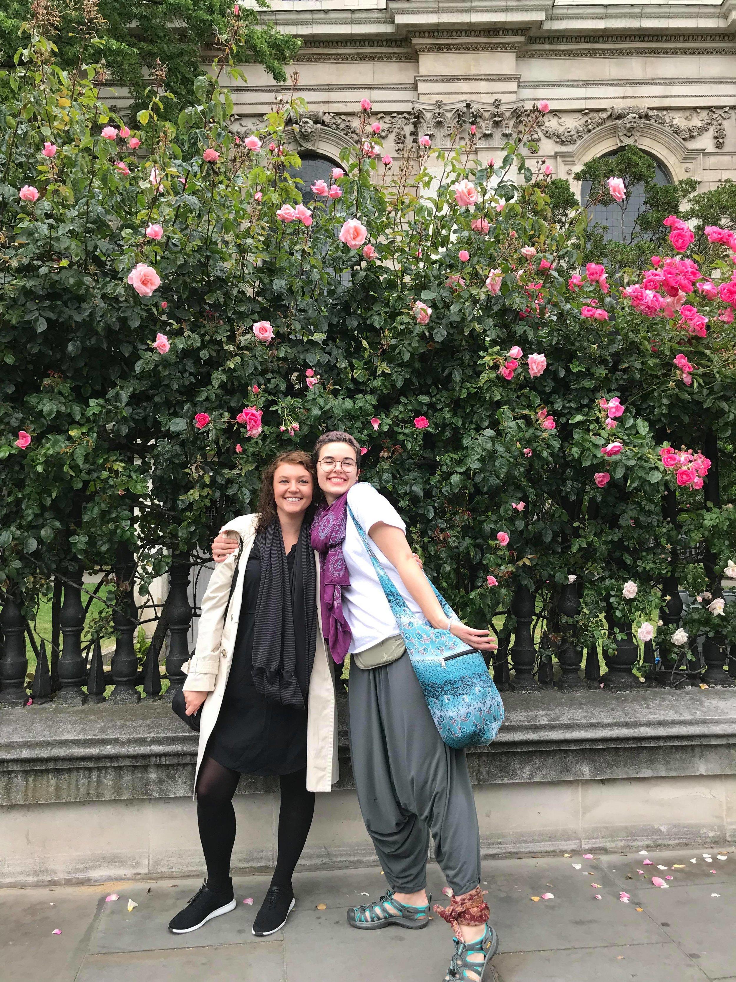 Alycia and Leah enjoying summer roses at St. Paul's