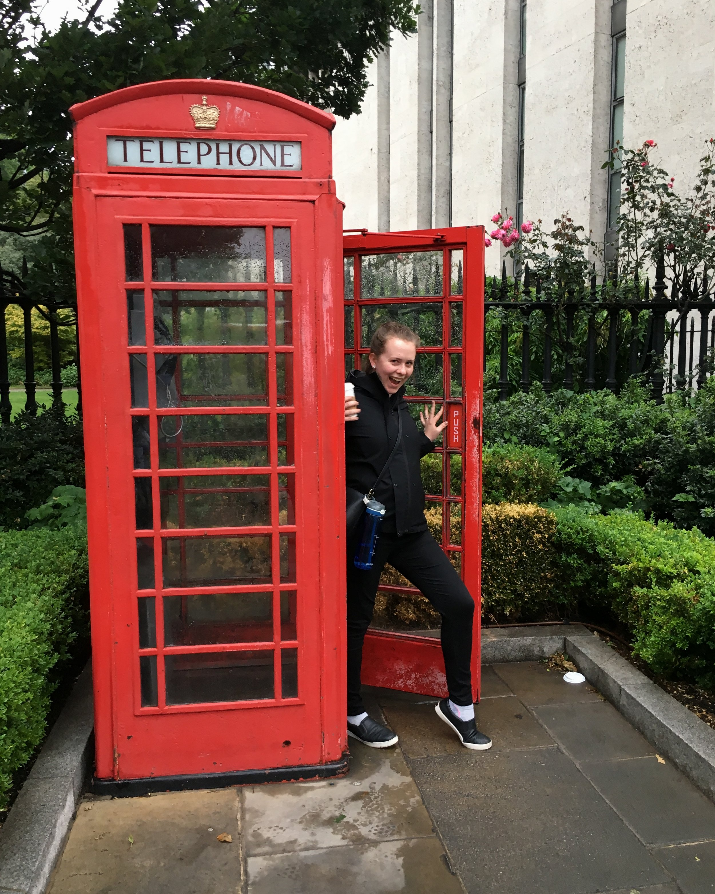 Meet field school blogger Alison, having some fun here posing inside an iconic London phone booth.
