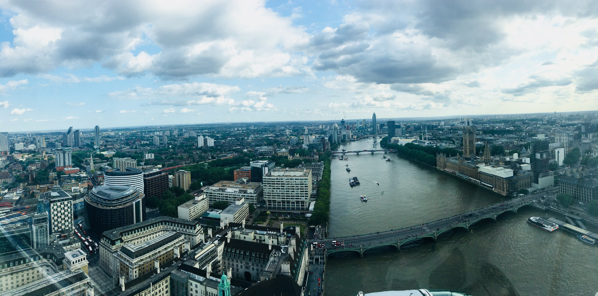 Panorama of the city from the top of the London Eye