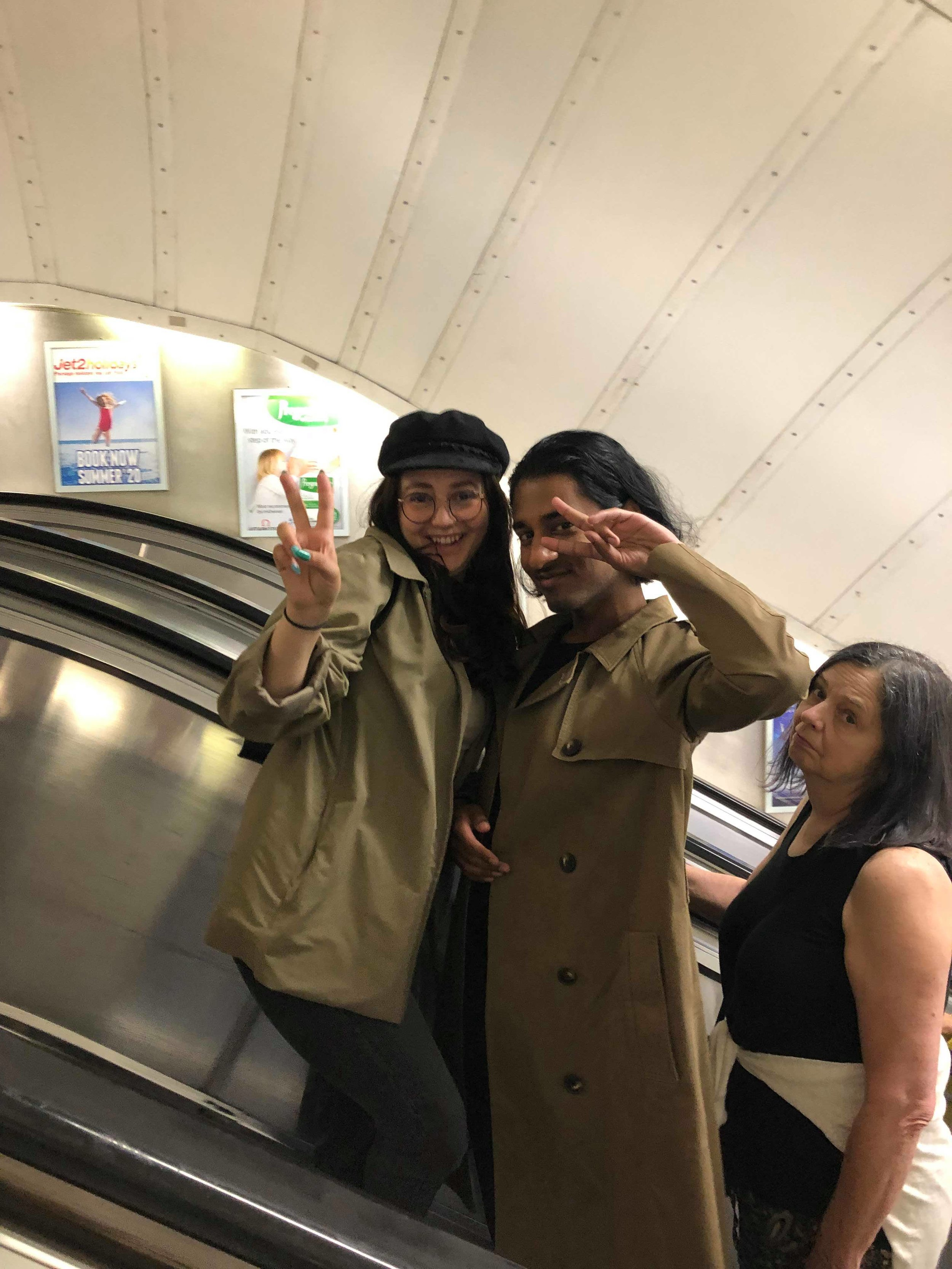 Shonel, a fourth year Psychology major at KPU (centre), pictured with Mel (left) and Elizabeth (right) riding the escalators on the London tube