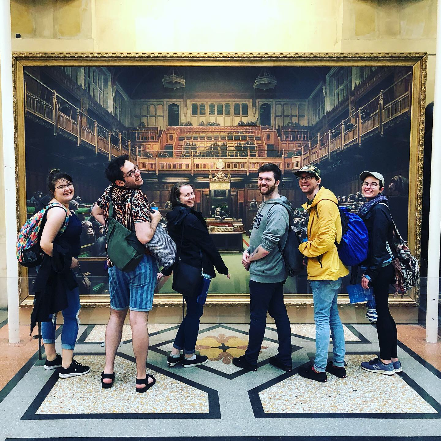 Steven, third from the right, enjoying a day in Bristol (with left to right, Victoria, Adam, Alison, Mark and Leah), part of which included taking in one of Banksy's rare paintings at the Bristol Museum.