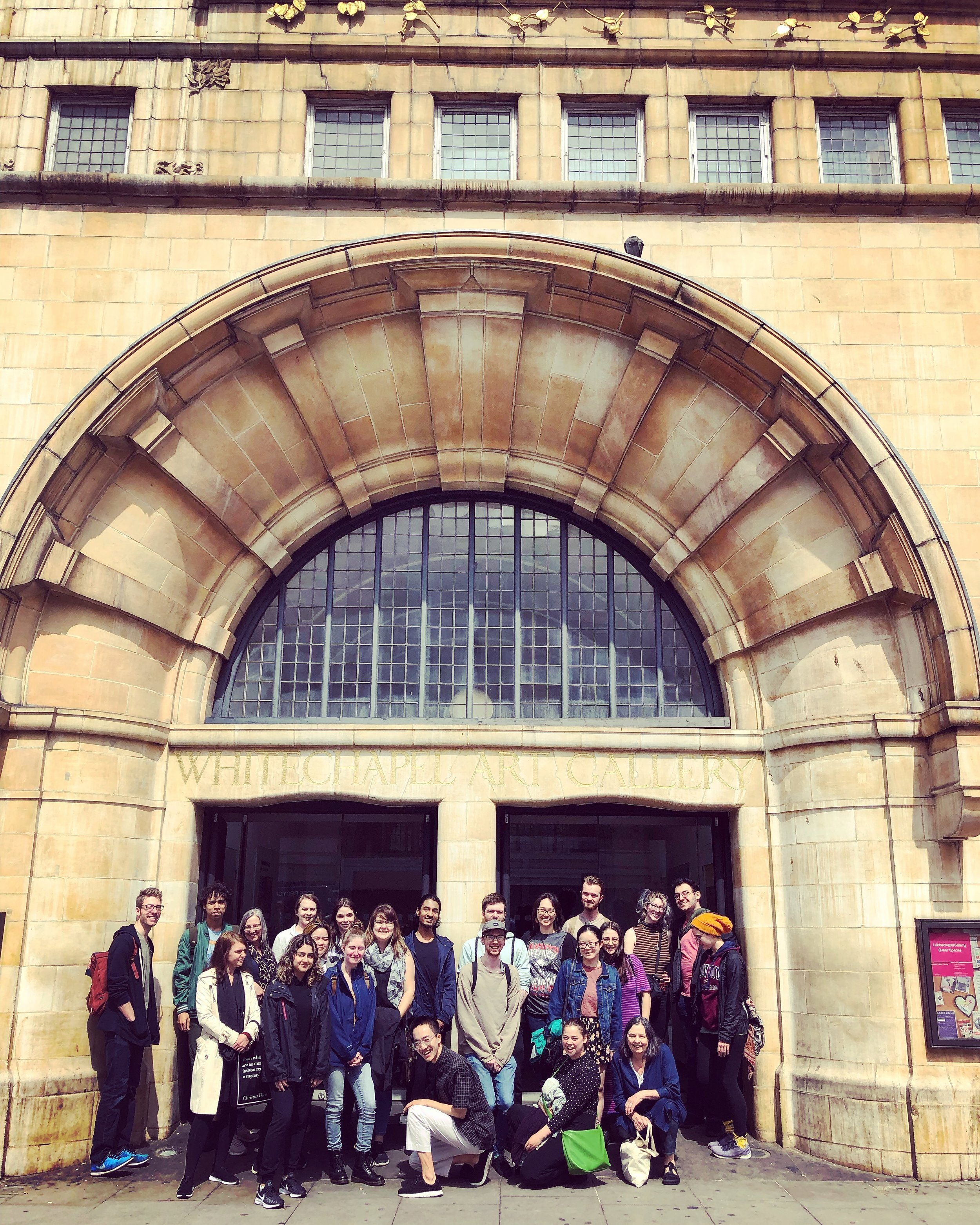 Anglea, pictured fourth from the left, with the group at the famed Whitechapel Gallery— an art space dedicated to the exhibition of the latest in cutting edge, non-traditional, and global avant-garde art.