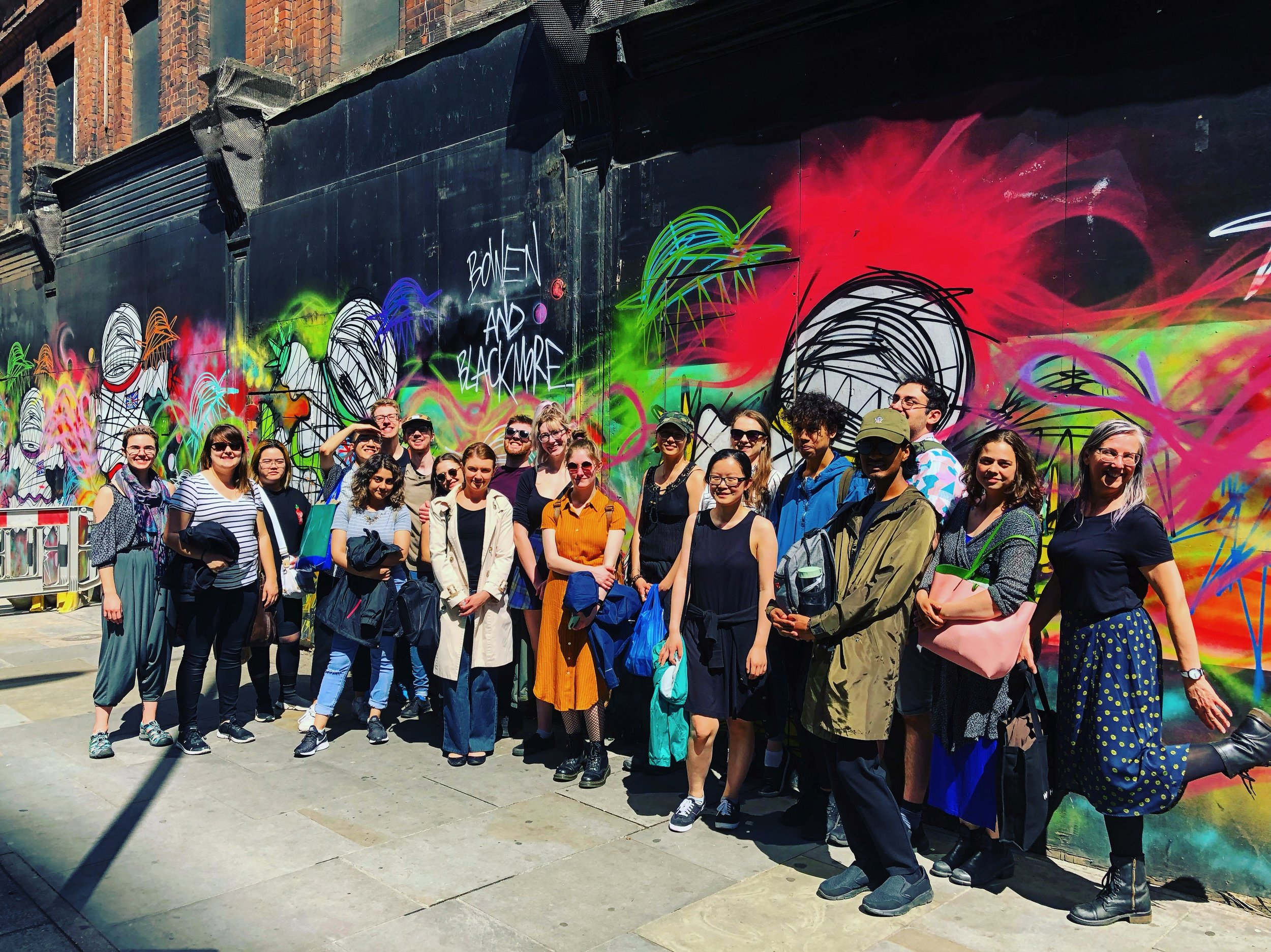 Anglea, at far right, and the group enjoying an outing in Shoreditch not far from Whitechapel and Barbican.