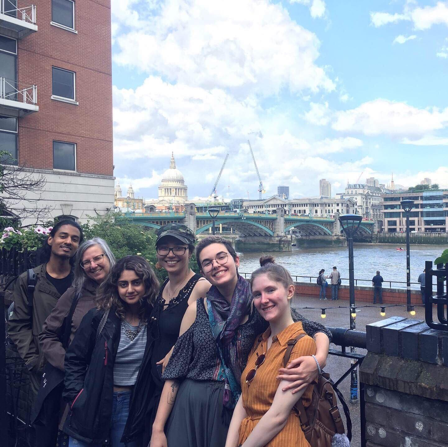 Lily, an international student from Iran, is seen here third from the left along with Shonel, Angela, Celesta, Leah, and Allison, down along the Thames River.