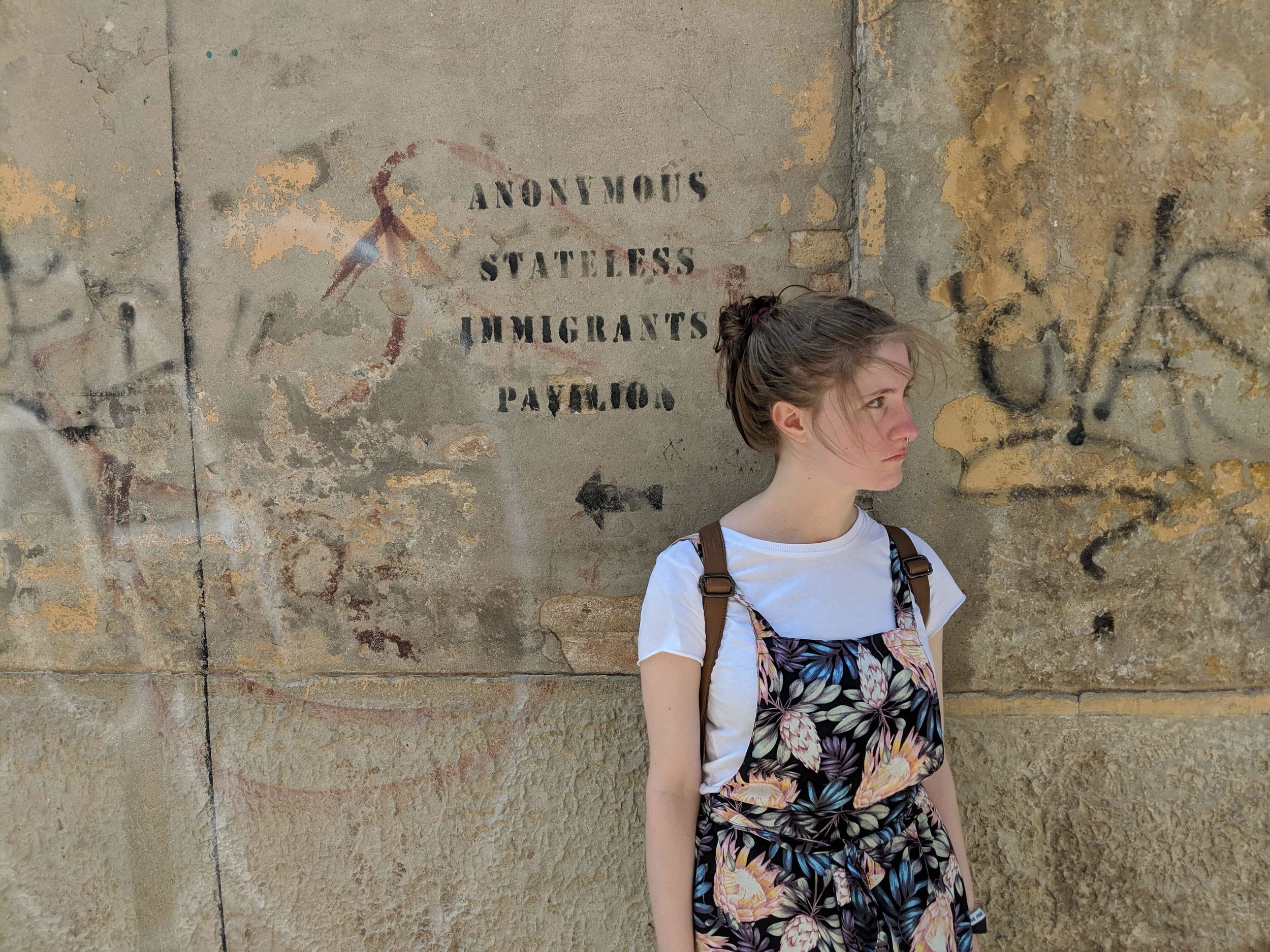 Meet field school blogger Allison, posing here with a work of protest art in the streets of Venice, revealing some of the tensions around the format and legacy of the Venice Biennale.