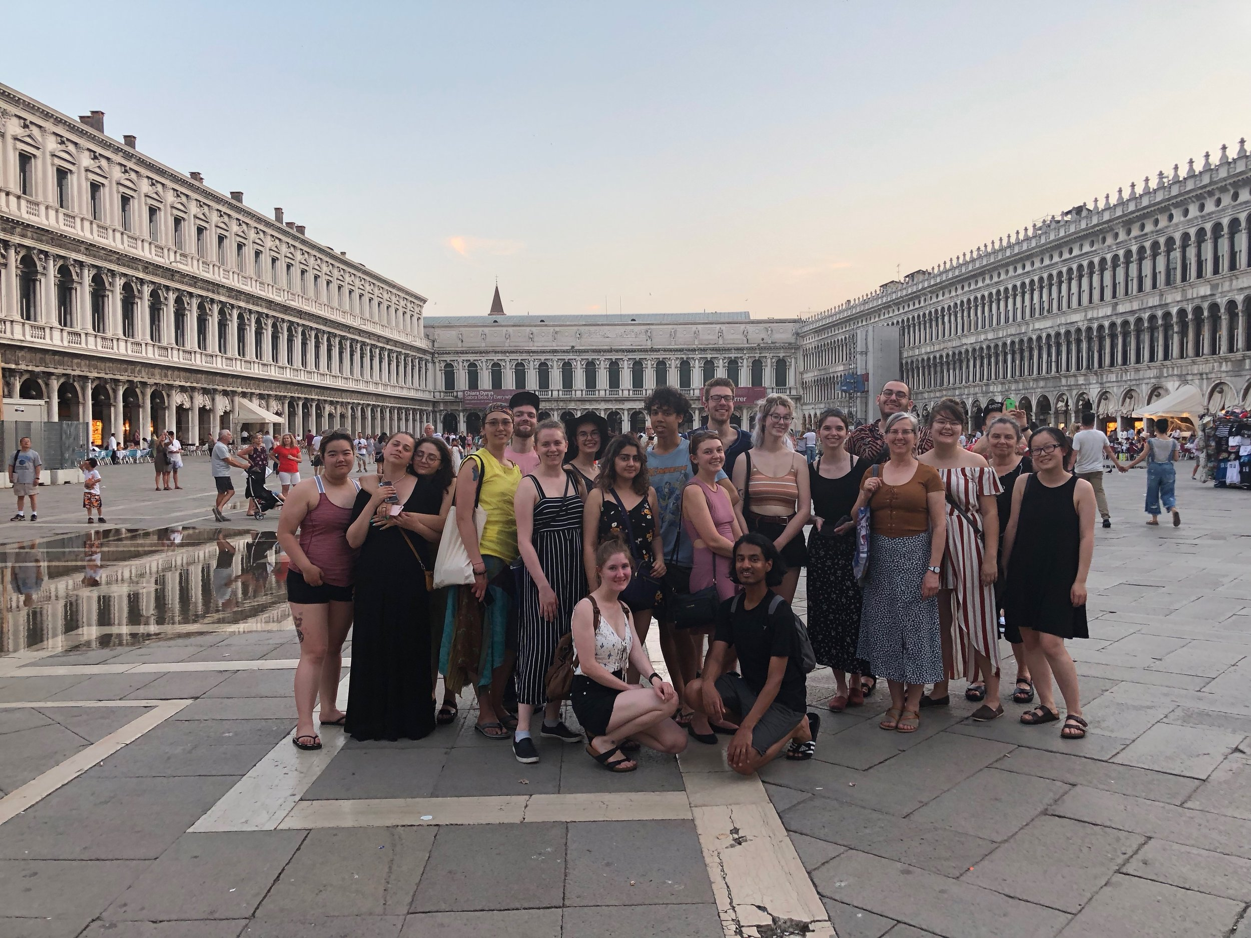 Allison, kneeling in front left with the group at San Marco Square in Venice, is a second year Fine Arts student pursuing her BFA at KPU.
