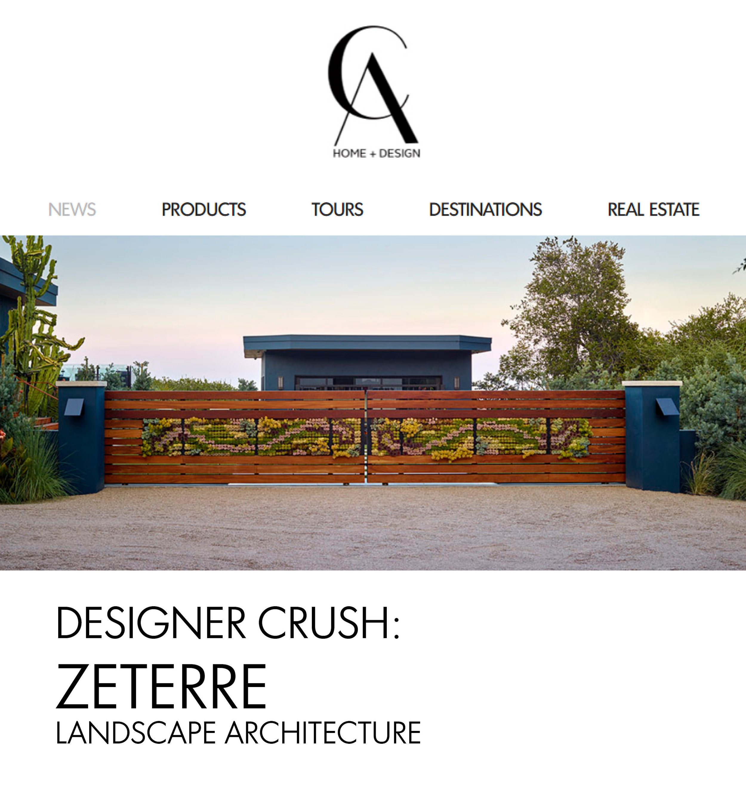 "California Home + Design  |  APRIL 2019   ""Designer Crush: Zeterre Landscape Architecture"""