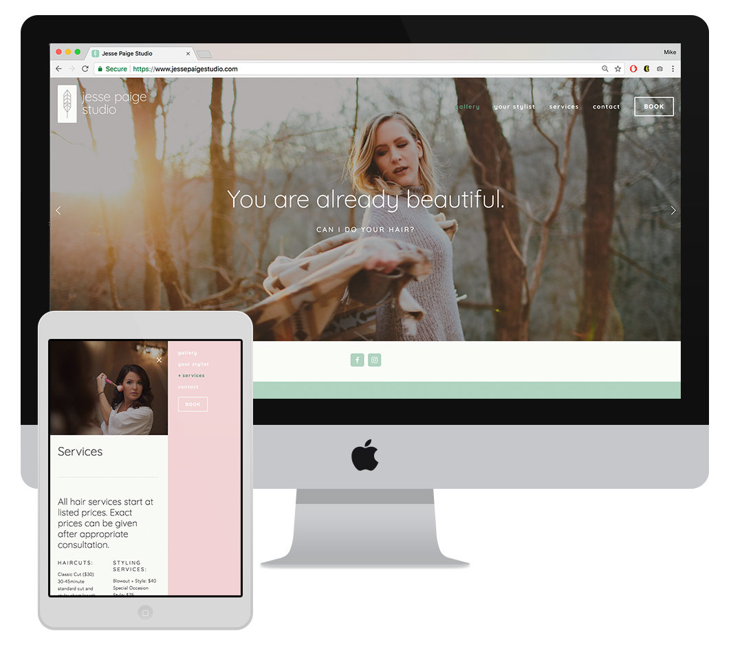 Website/ motto - The website was designed with her elegant but accessible elements in mind.