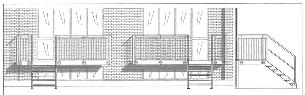 Bemærk at trappen vil være placeret i modsatte ende end skitsen, således trappen til haven er ved terassedøren