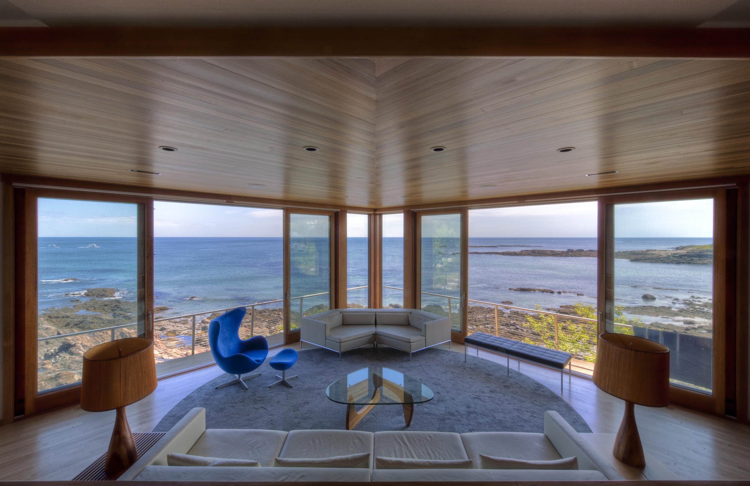 living room overlooking the coastline