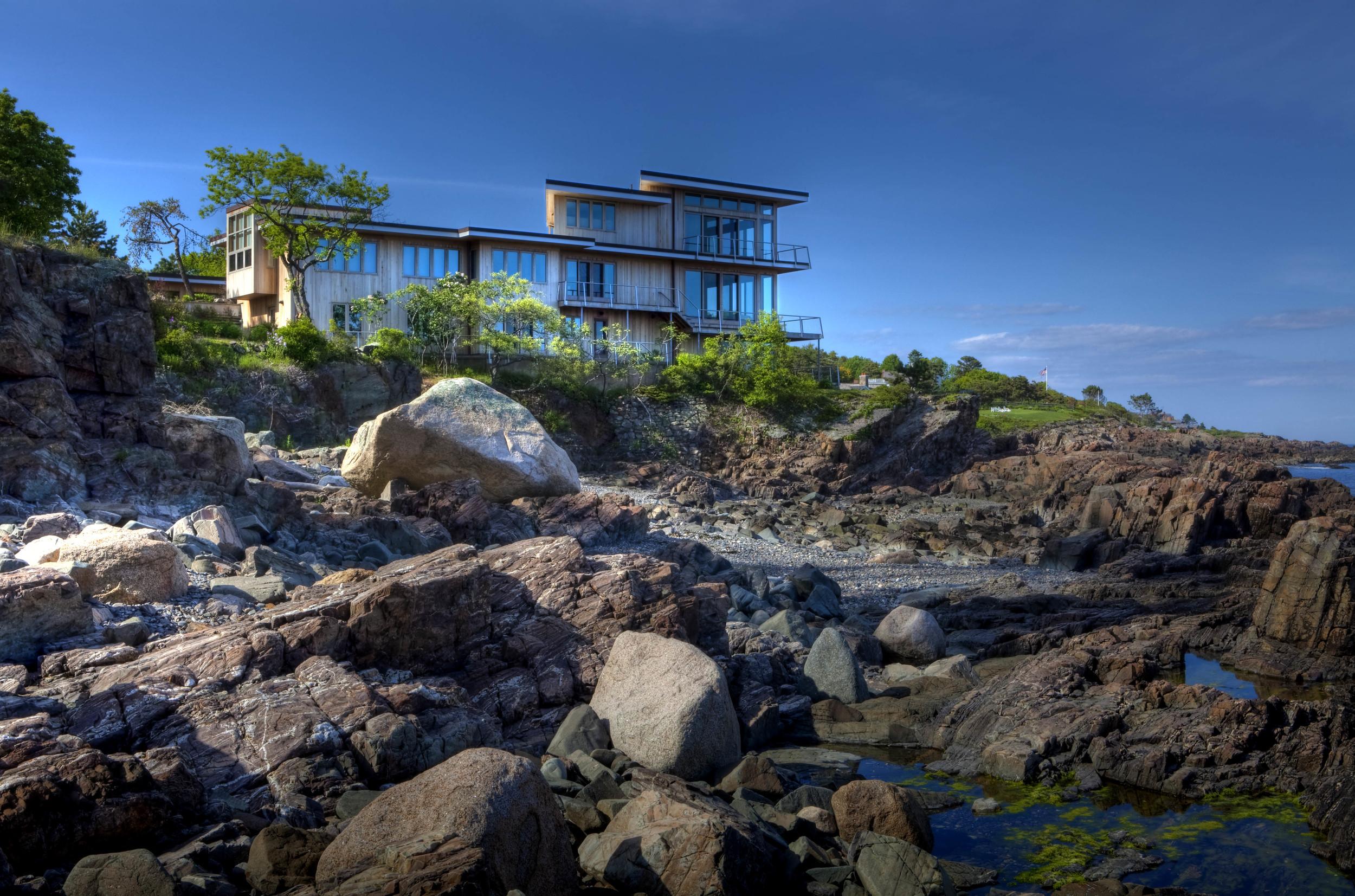 overlooking the rocky shoreline