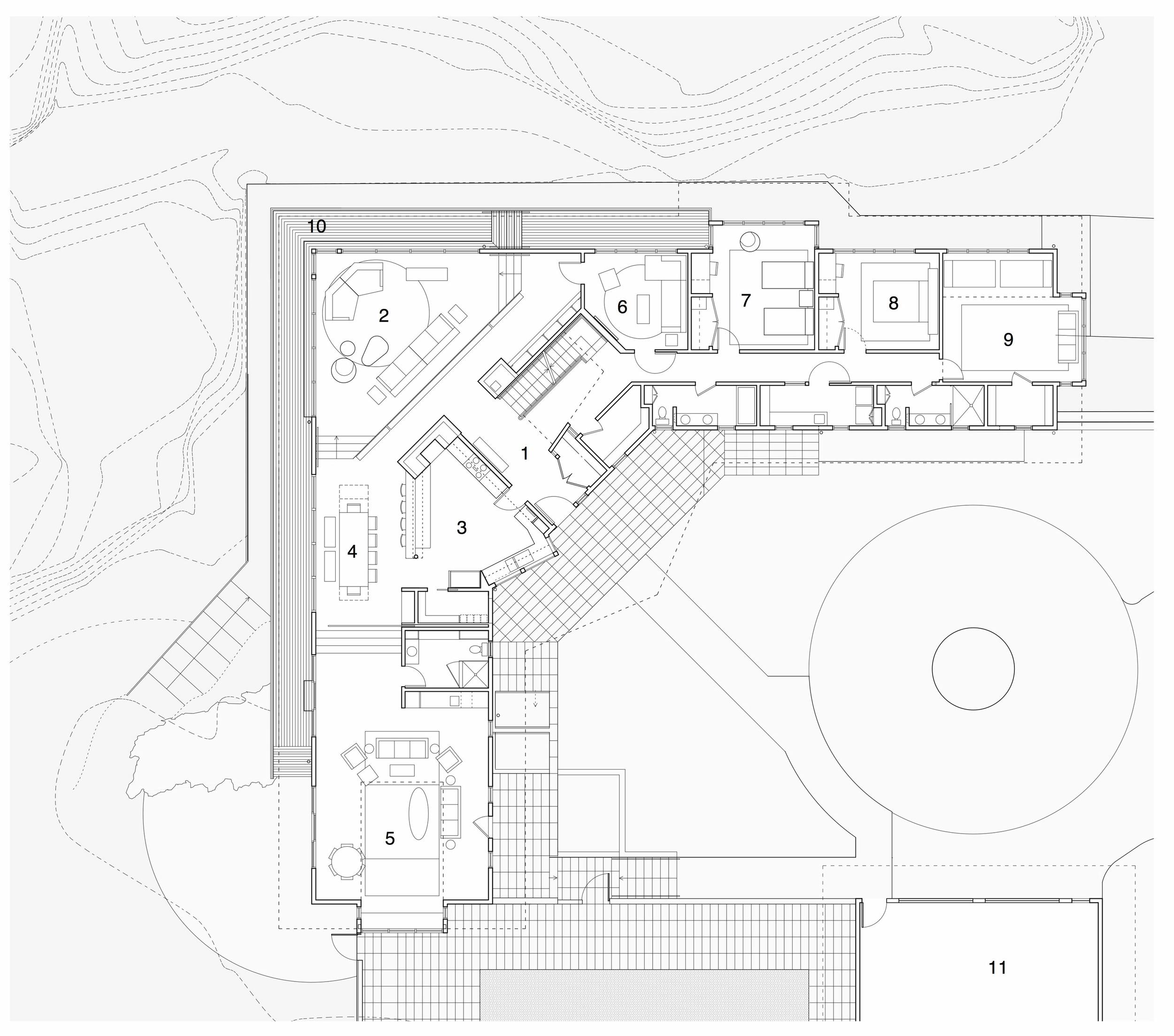 main floor plan: (1) entryway, (2) living room, (3) kitchen, (4) dining area, (5) family room, (6) den, (7-9) bedrooms, (10) deck, (11) garage