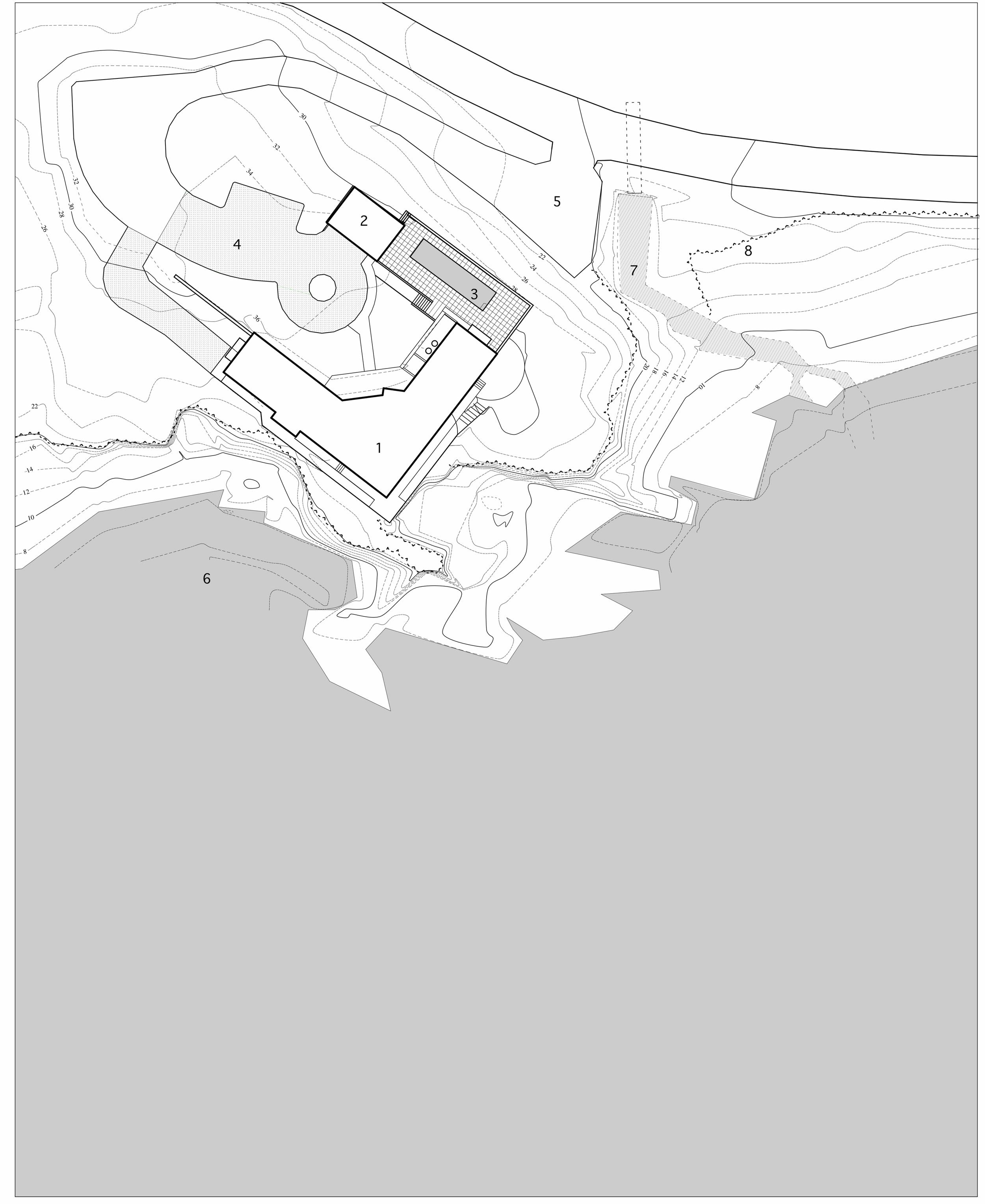 site plan: (1) house, (2) garage, (3) swimming pool, (4) entry drive, (5) driveway, (6) coastline, (7) stream, (8) edge of site
