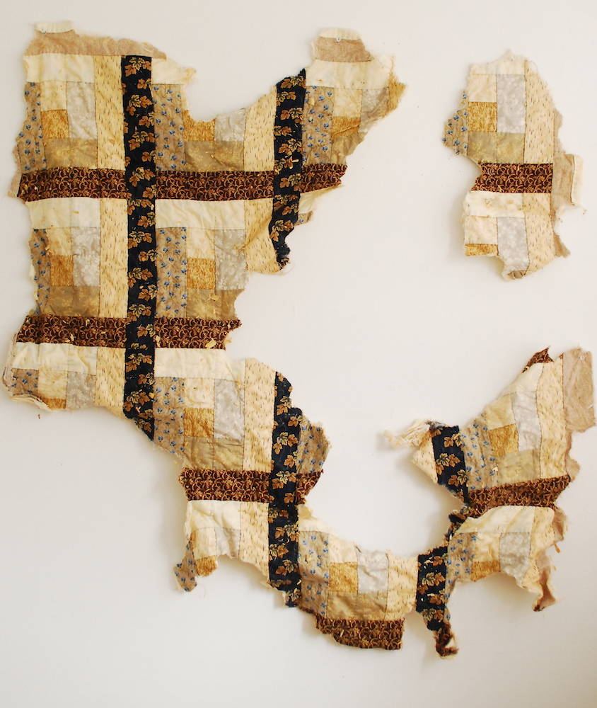 Coyote Quilt  (after animal contact), hand stitched quilting cotton, 2010