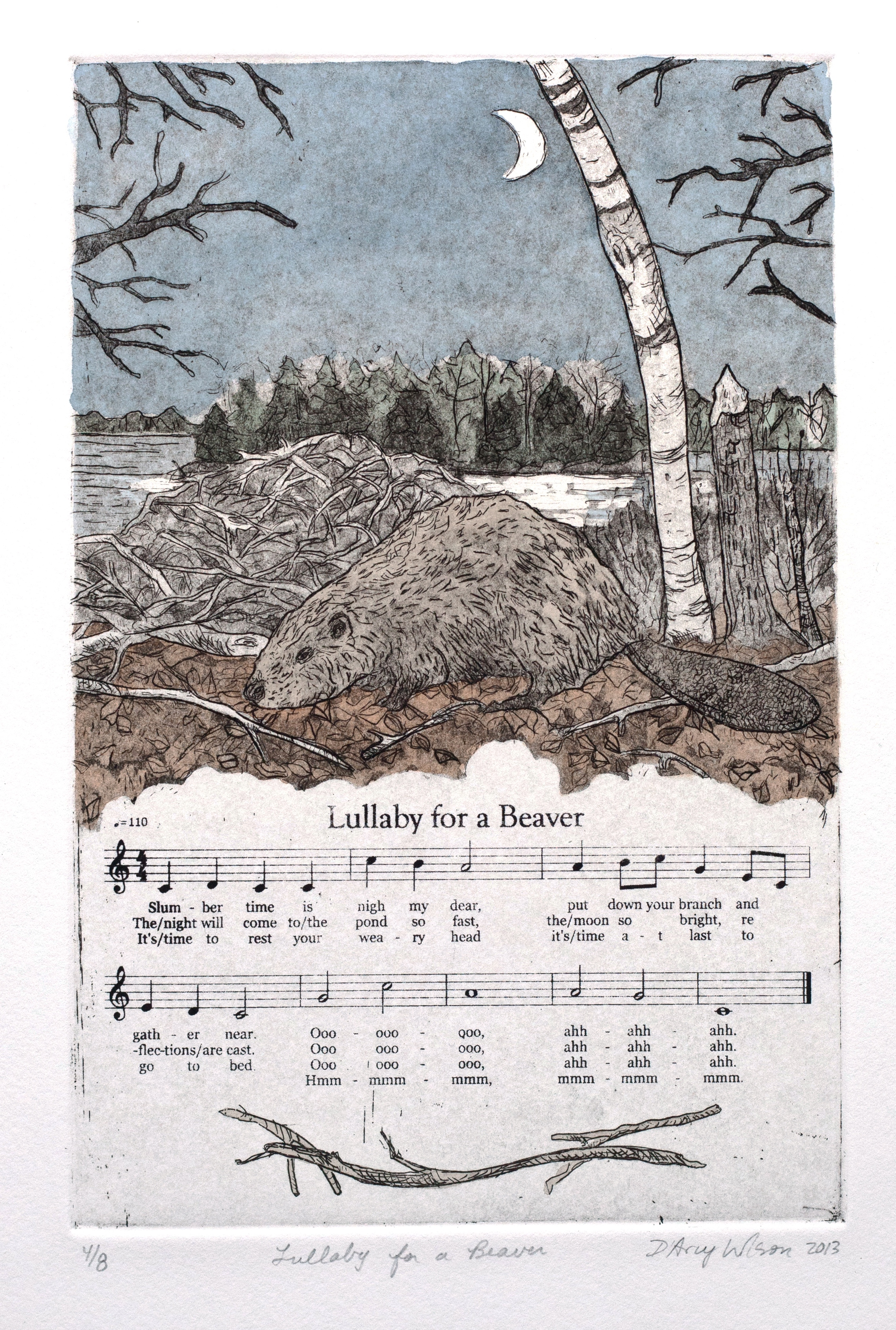 "Lullaby for a Beaver,  etching, watercolor, and silkscreen on paper, plate dimensions: 6"" x  9"",  2013"