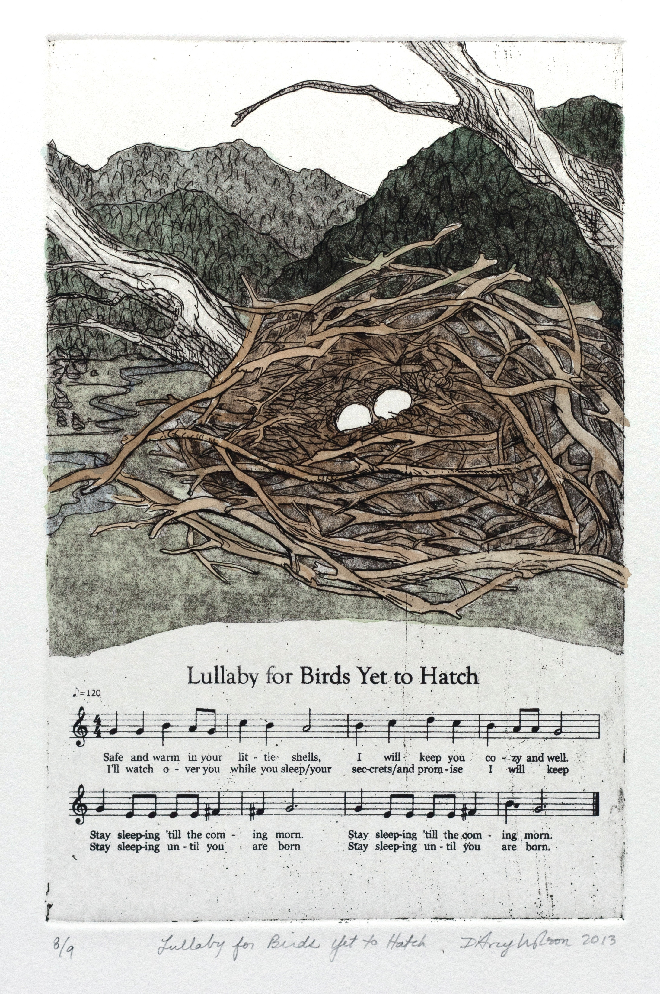 "Lullaby for Birds Yet to Hatch,  etching, watercolor, and silkscreen on paper, plate dimensions: 6"" x  9"",  2013"