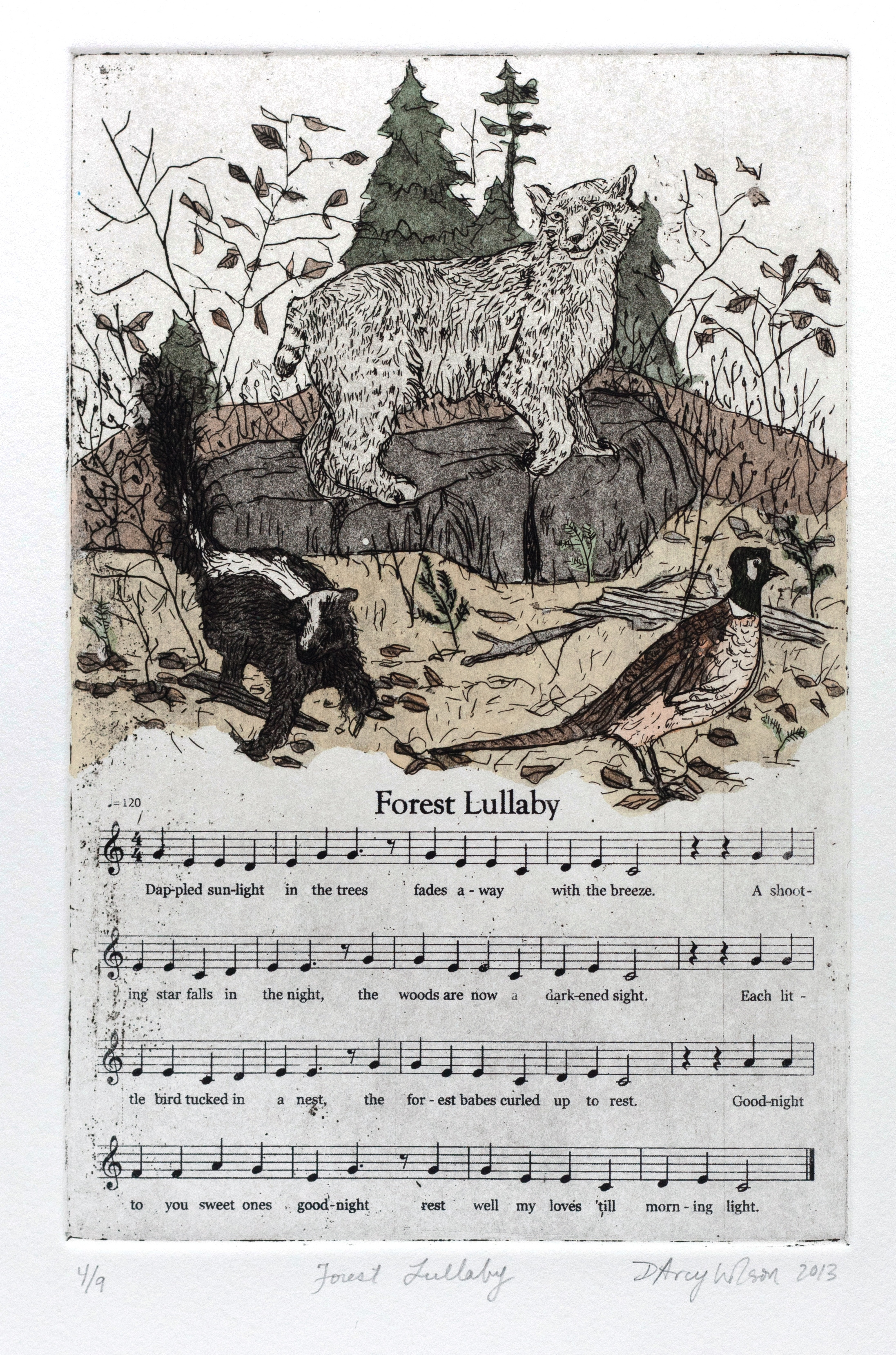 "Forest Lullaby,  etching, watercolor, and silkscreen on paper, plate dimensions: 6"" x  9"",  2013"