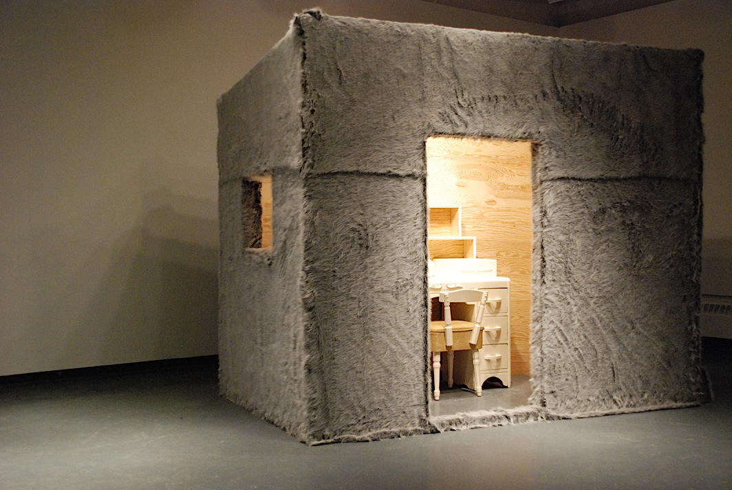Trapper , cabin covered with faux fur, furniture, wildlife figurines, audio element of bird calls, performance, The Little Gallery, University of Calgary, 2008