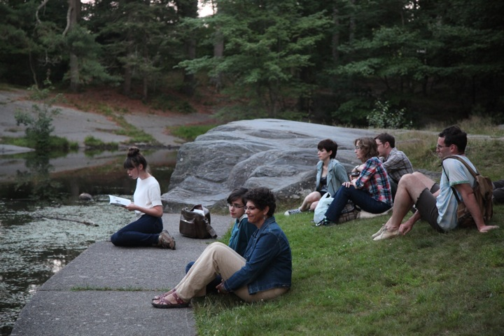 Bedtime Stories,  Public performance of reading bedtime stories to the urban wildlife in Point Pleasant Park, Halifax NS, July 2013