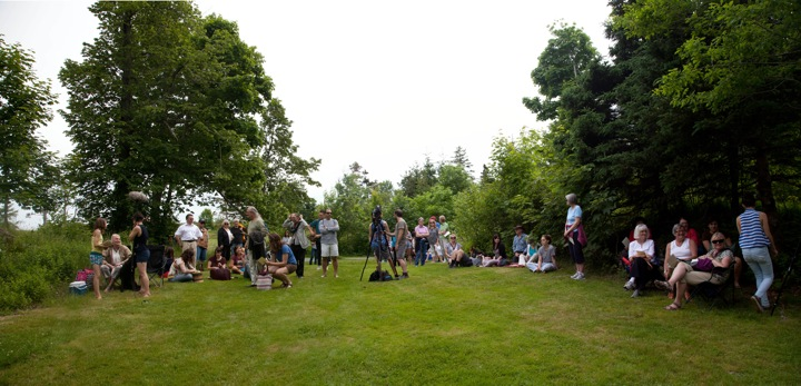 In Memoria, (Crowds starting to gather),  public performance in Point Pleasant Park, Halifax NS, June 22nd, 2013
