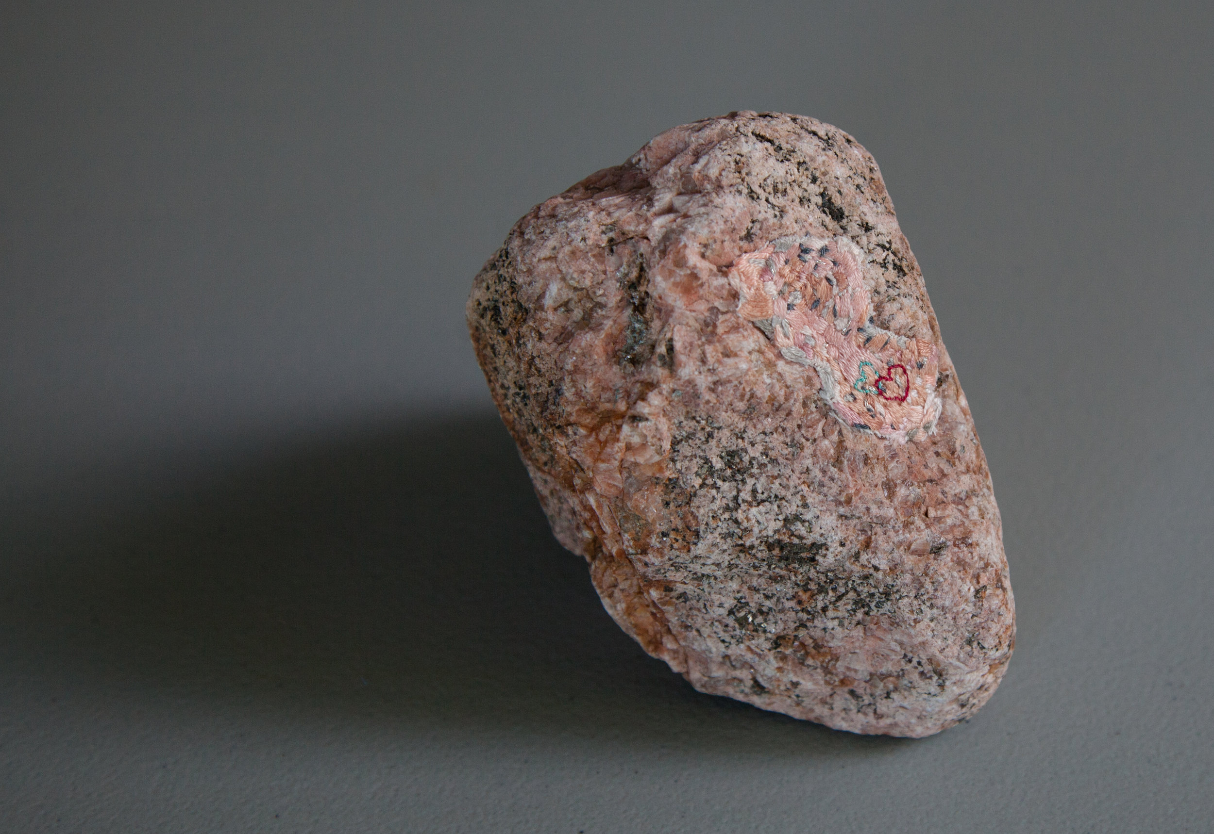 pink granite and embriodery, aprx. 6 inches high, 2016