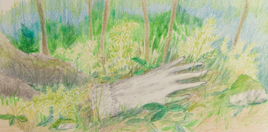"coloured pencil and pencil on paper, 7"" x 3.5"", 2015"