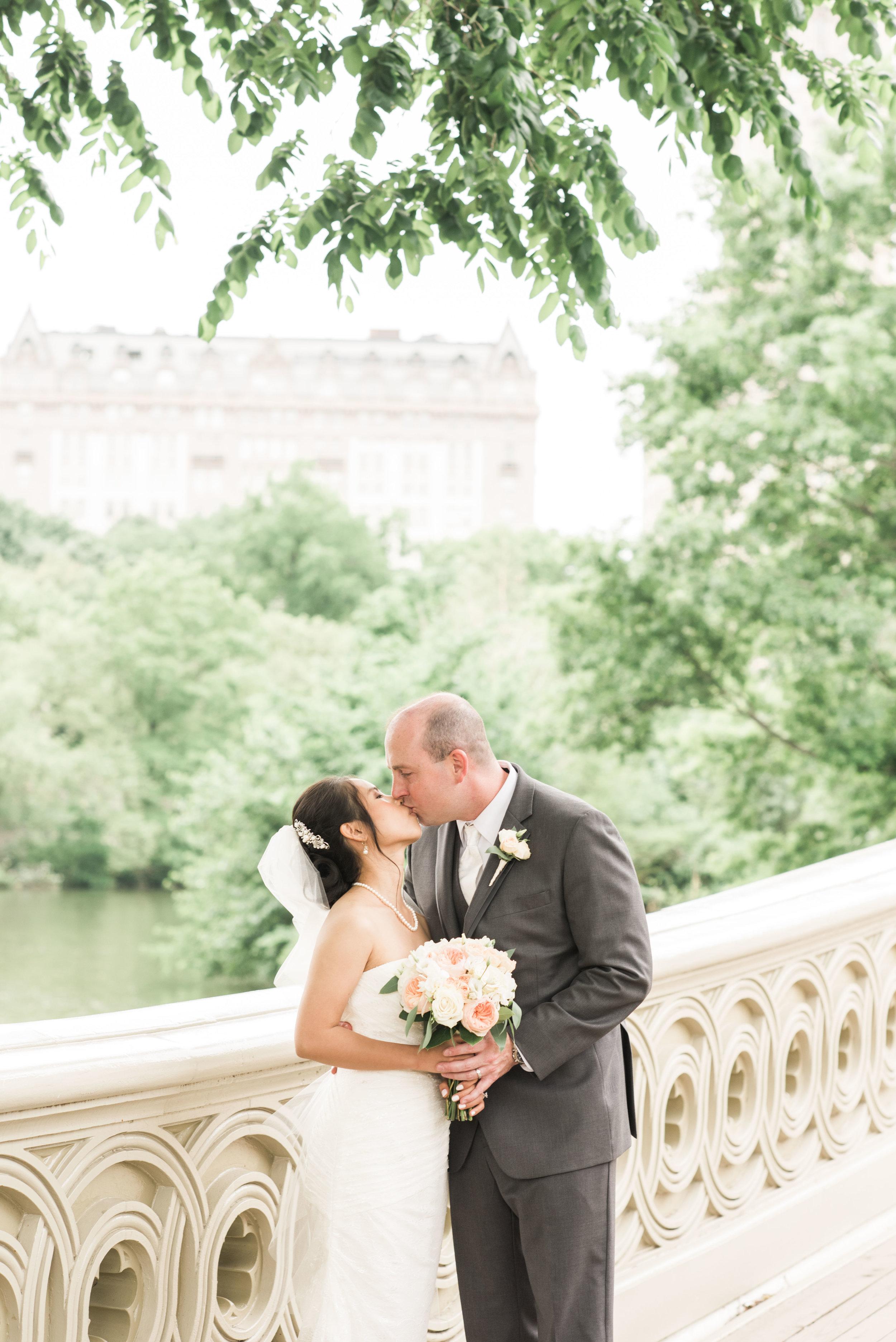 Bow Bridge Wedding, Bride and Groom kissing on bow bridge, bow bridge, central park wedding, bride and groom kissing, destination wedding