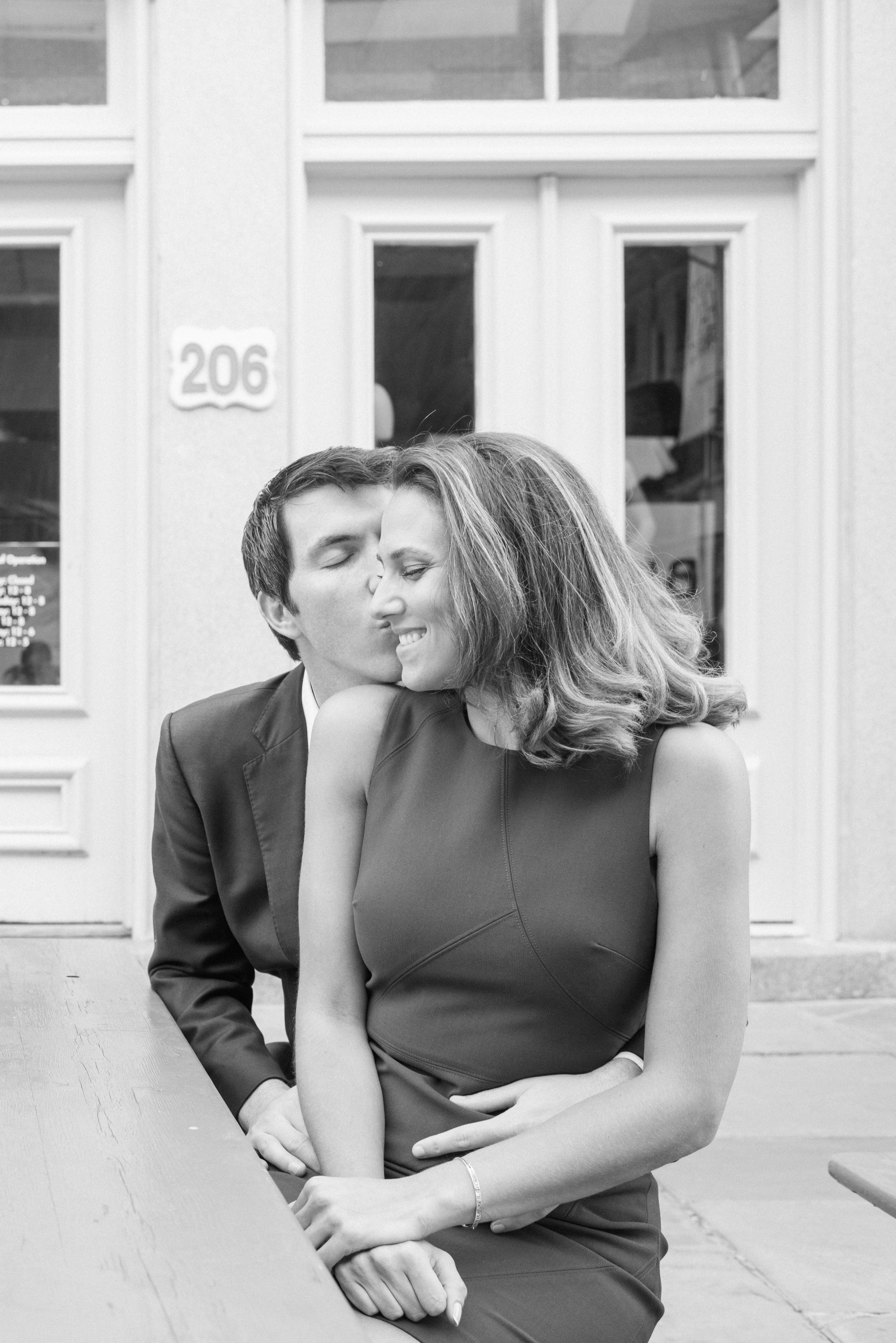 Engaged couple, fiance, engagement, engagement photos, couple in love, black and white photo, moments, darling moments, cute, adorable, real love, kiss, south street seaport engagement, weekend engagement