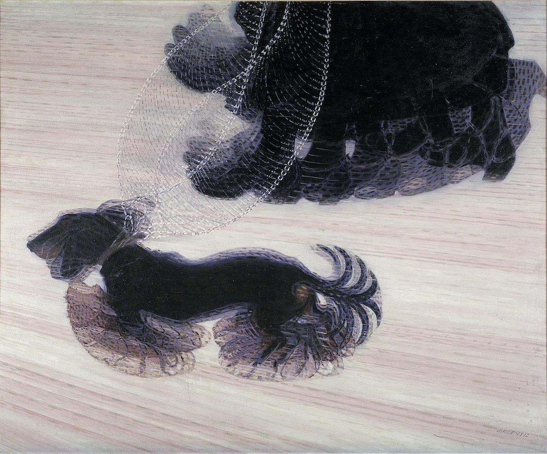 Giacomo Balla,  Dinamismo di un cane al guinzaglio (  Dynamism of a Dog on a Leash), oil on canvas, 1912