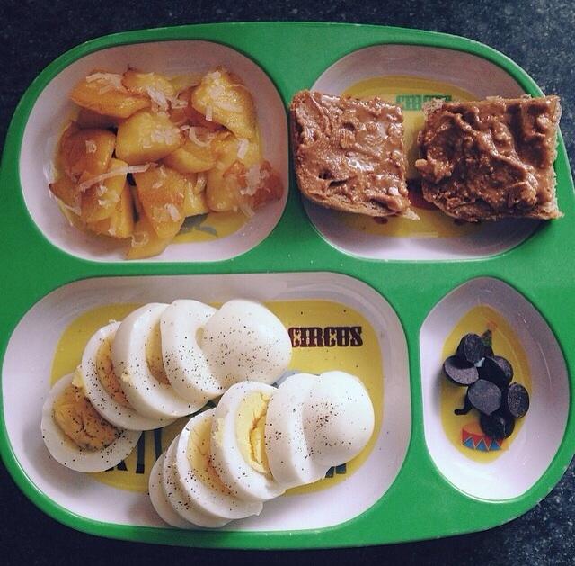 """fried mango"" / Ezekiel bread, natural PB / hard boiled eggs / dark chocolate chips"