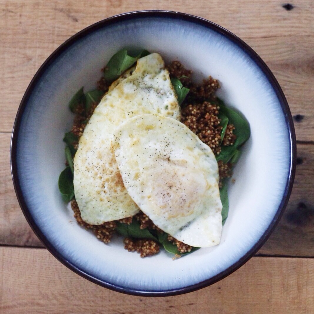 Spinach, quinoa & black beans, fried eggs