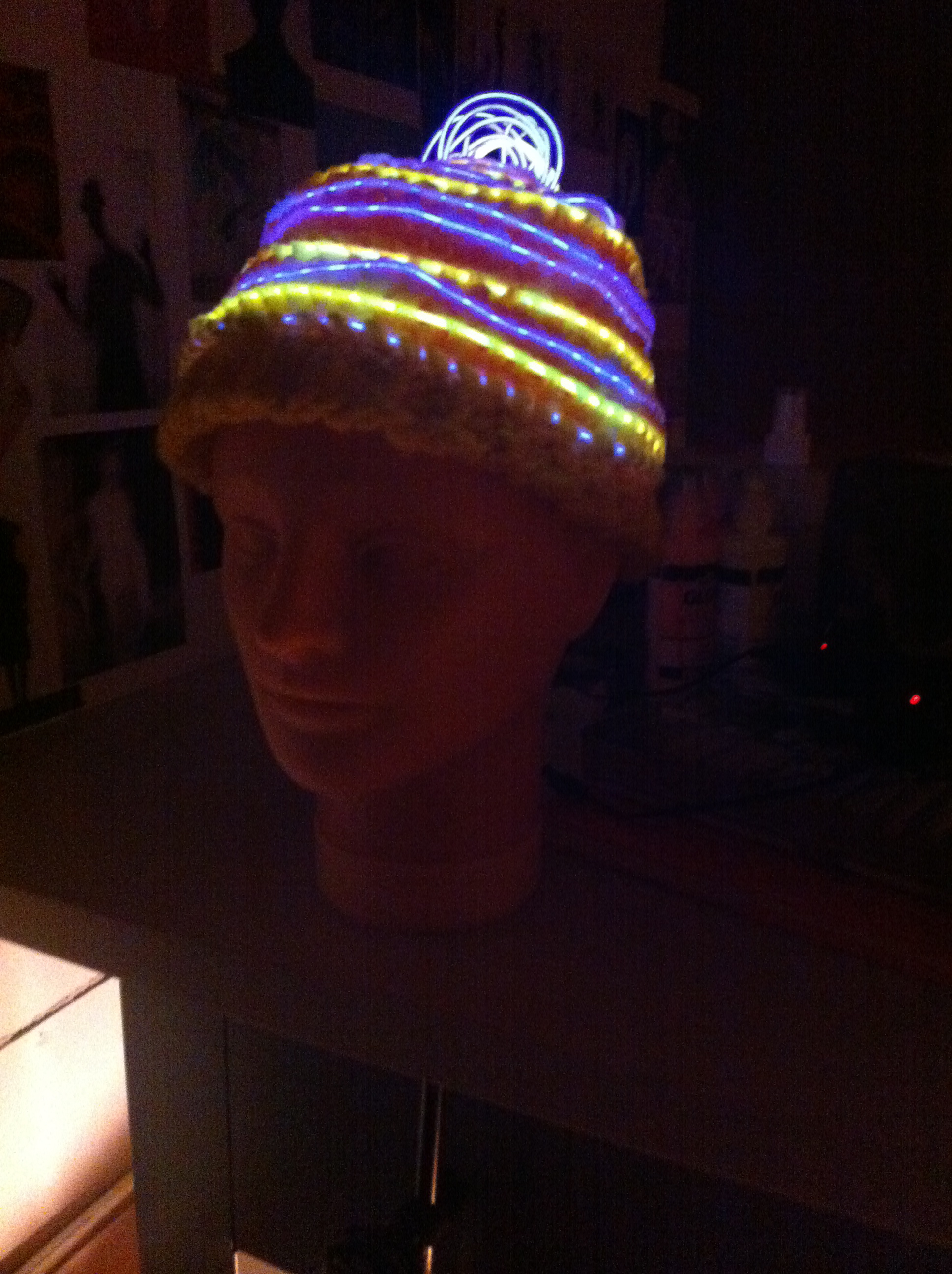 Machine and Hand Knit  Hand Dyed Monofilament, Wool, LED Wire