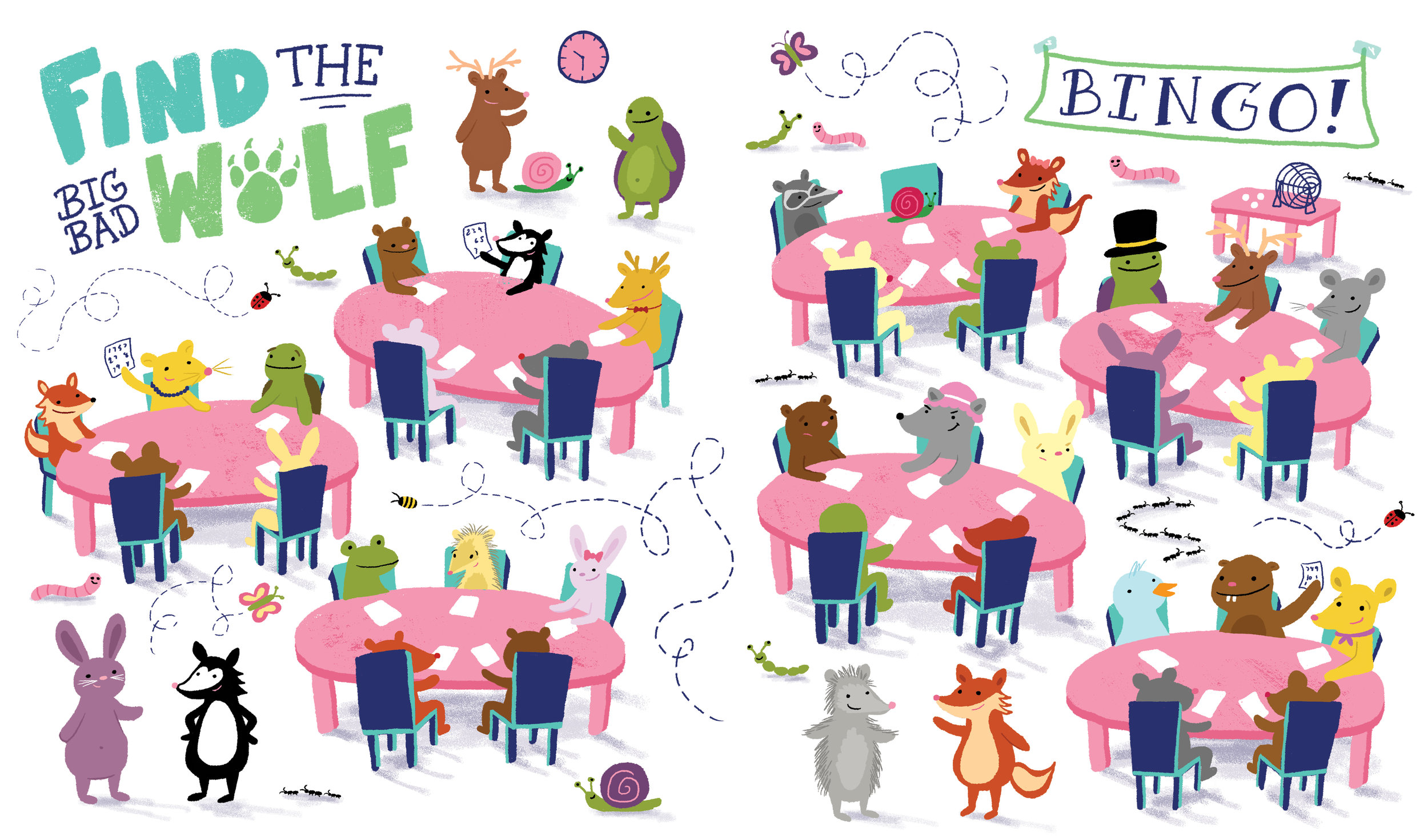 Spread for Mishmania activity book, published by Little Bee Books
