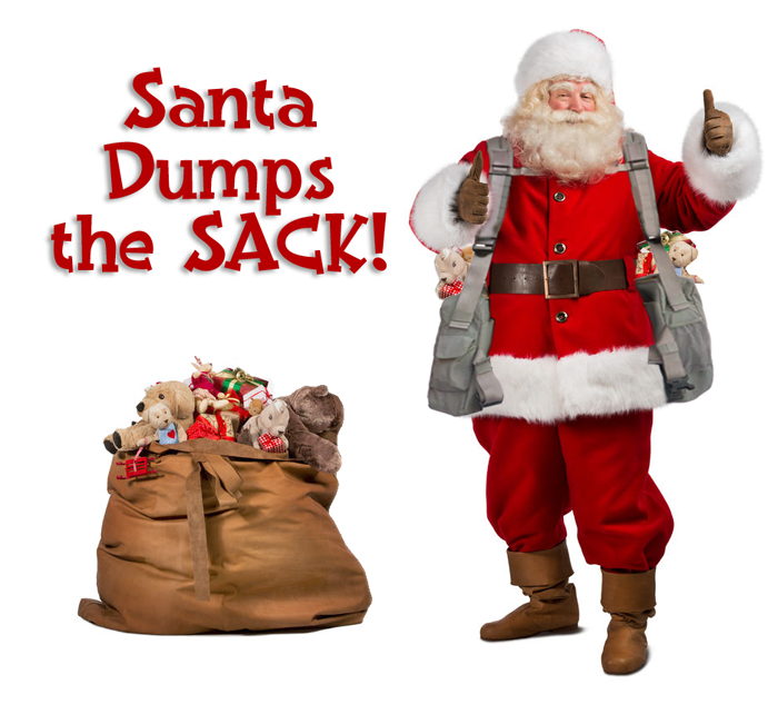 Image of Santa leaving his old sack behind and wearing the BackTpack with his arms up and having both thumbs up showing his approval.