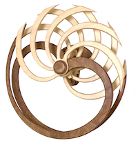 Sky Quest kinetic sculpture by kinetic artist David C. Roy of Wood That Works