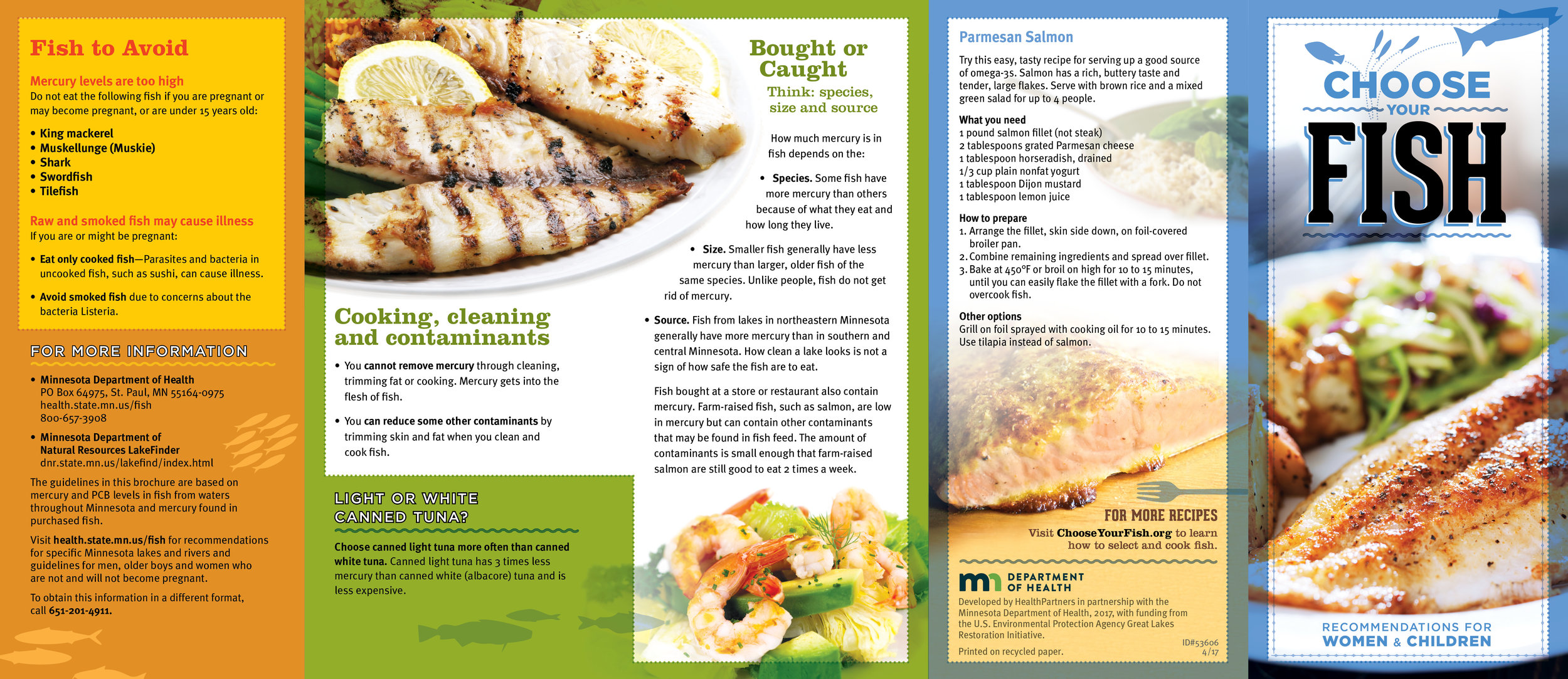 Fish-eating guidelines for women and children developed by HealthPartners, exterior spread of 5-panel brochure