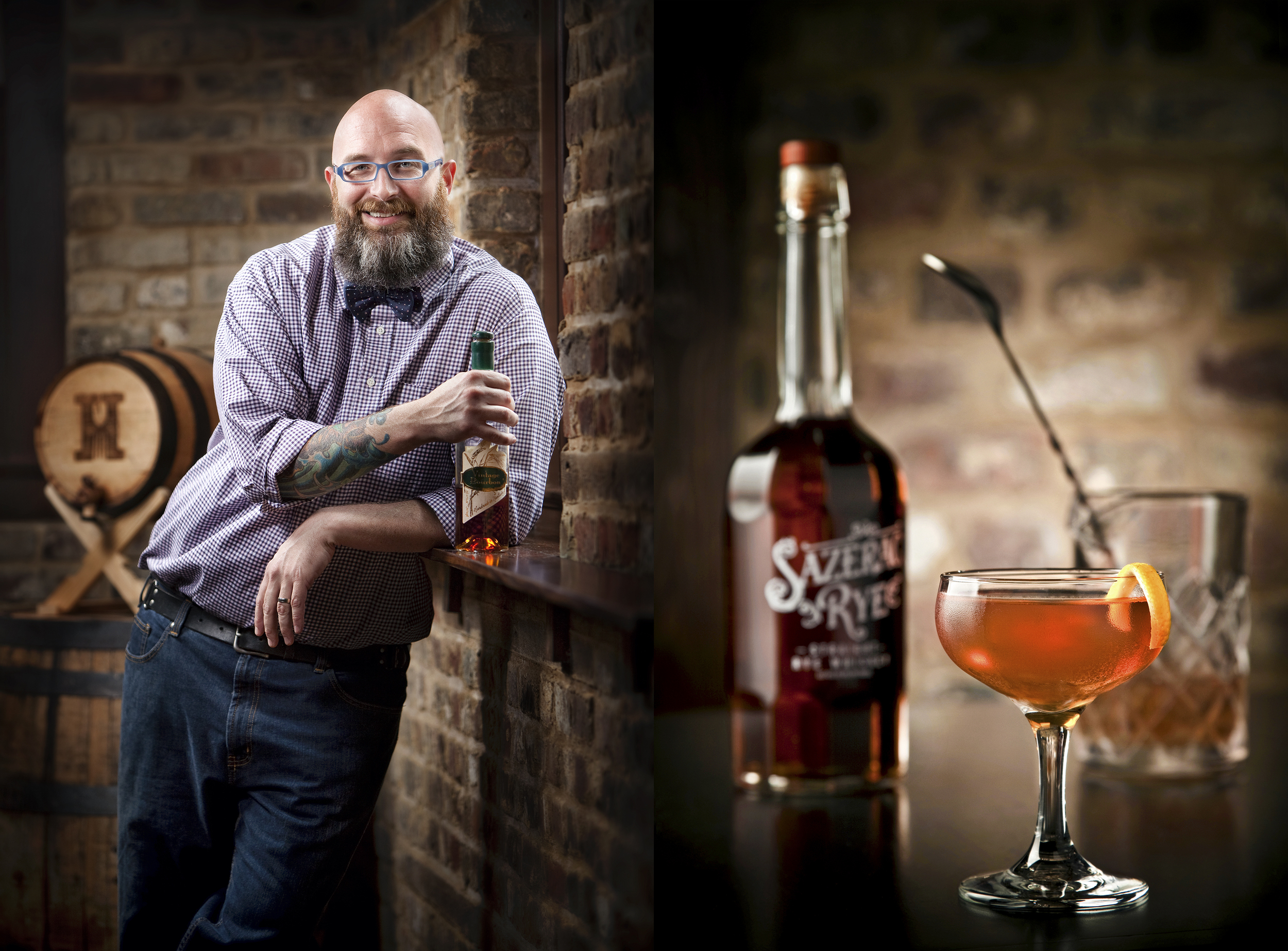 portrait and beverage photography of bartender and sazerac