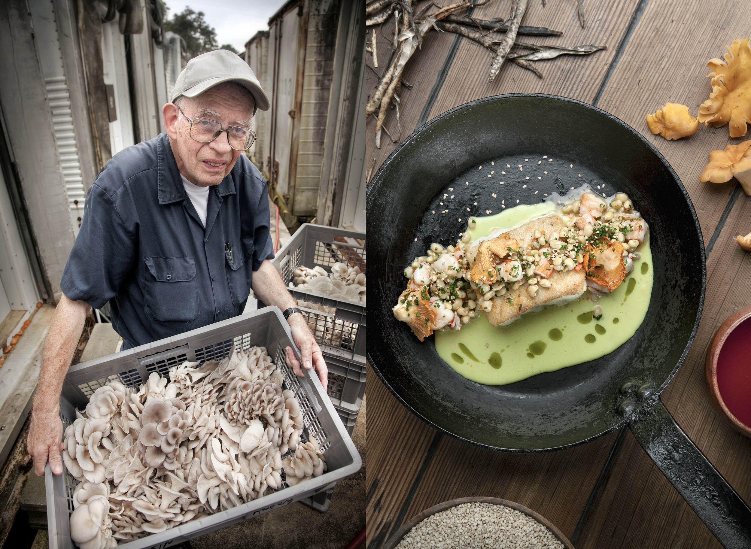commercial food and portrait photography of farmer and iron skillet