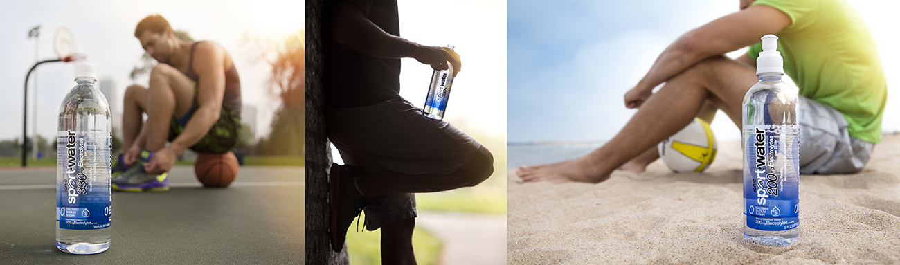 product and lifestyle photography of water bottle with athlete