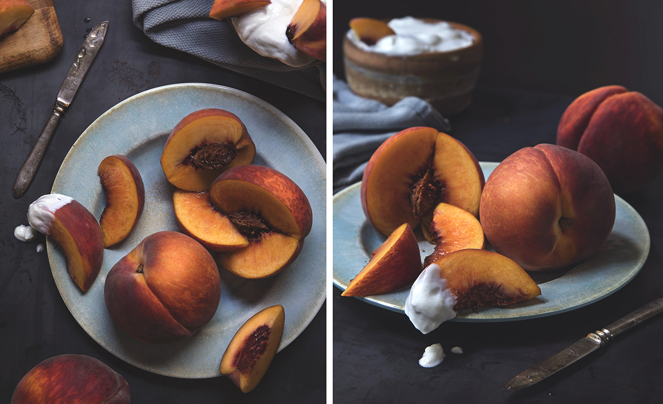 food photography of peaches