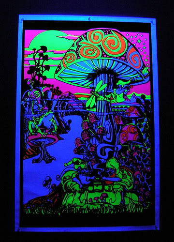 An example of a black light poster. It took forever to to find a good one of flickr.