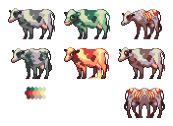 Cow sprites for Necrosoft's  Oh, Deer!
