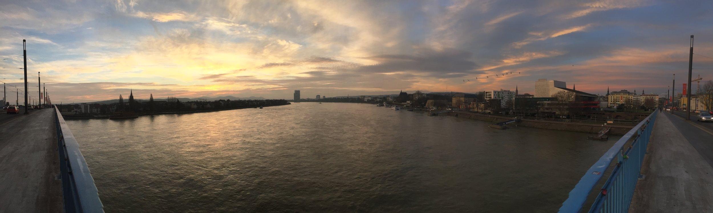 sunrise from the rhine river bonn, germany